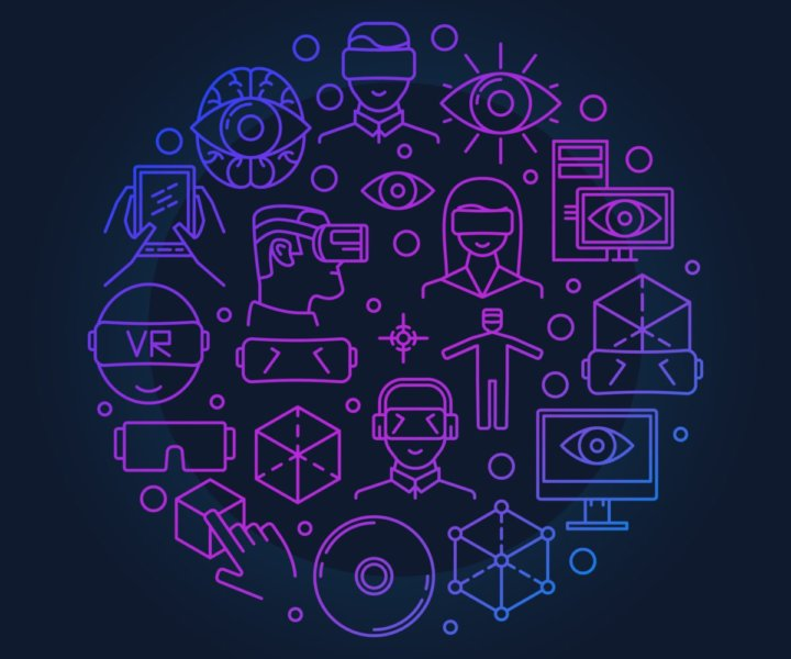 Bright VR round symbol - vector virtual reality circle illustration made with linear VR devices icons