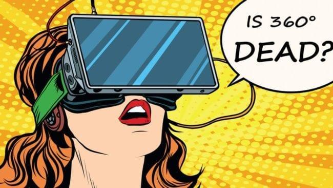 Comic Frau mit VR-Brille fragt ob 360° tot ist?