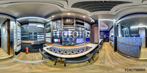 360 panorama inside broadcast mobile television station