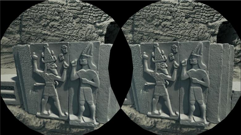 VR-Simulation eines Reliefs im Tempel des Wettergottes von Aleppo