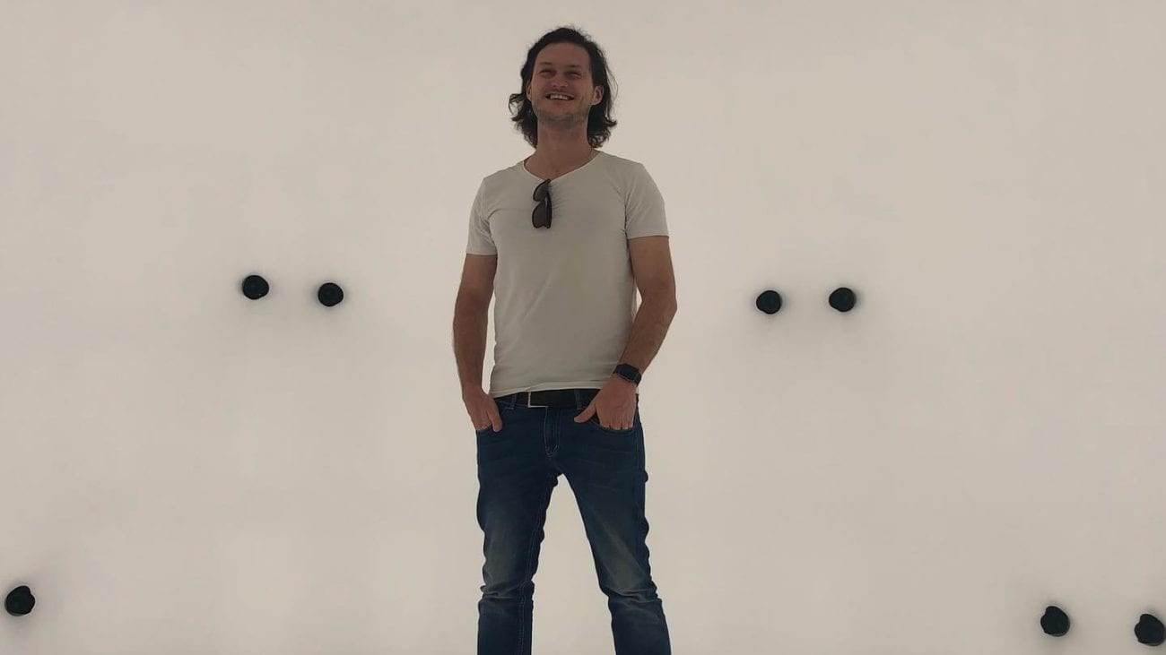 Daniel Guthor (CEO, Aspekteins GmbH) beim Besuch im Volucap Studio in Babelsberg.